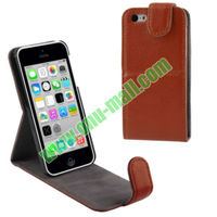 Pure Color Litch Pattern Flip Vertical Leather Case for iPhone 5C with Card Slot and Holder