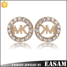 Fashion gold stainless steel needle crystal stud earrings