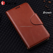 Luxury Brown book style genuine leather folio case for Samsung Note2