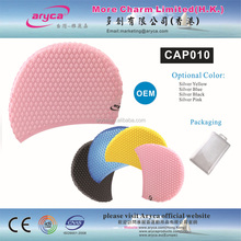 Professional Customized pink Bubble soft Silicone Swimming Cap