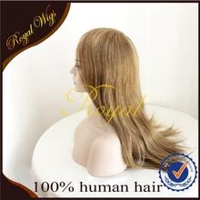 Full Hand Tied Mono Blond Shine 100% Human Hair Half Wigs Women Toupee
