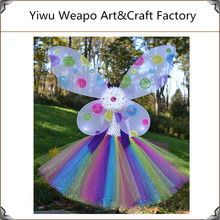 Wholesale Rainbow Children Party Decoration Fancy Fairy Wings TuTu Dress Set Colorful Life Fairy Wings Dress BW-328