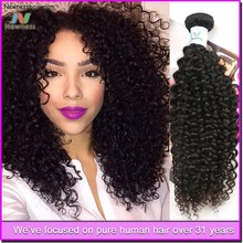 wholesale fantastic Girls raw unprocessed human hair extension one piece clip in curly hair extension