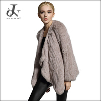 Ladys Freestyle Knitted Outerwear Real Rabbit Fur Coats