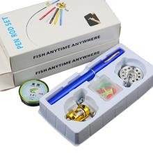 2015 Mini Portable Pen Fishing Rod Set Spinning Reel Telescopic Pole