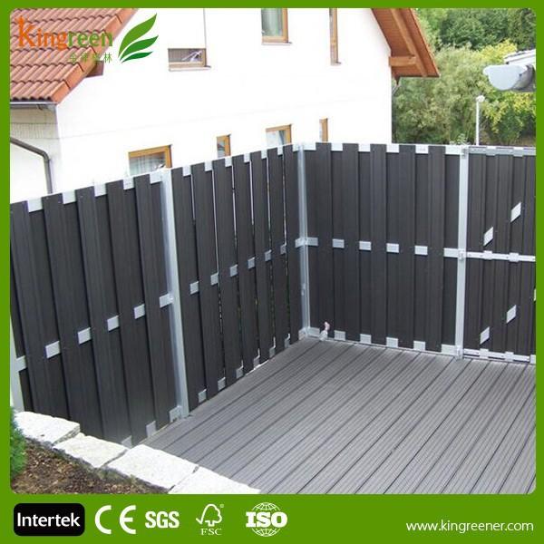 Wood plastic composite deck privacy screen with decking for Wood privacy screens for decks
