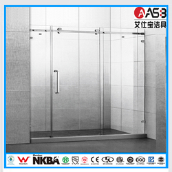 6mm Tempered Glass sliding frameless big roller shower screen