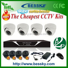 plastic product iphone 5s support cctv kits with h.264 d1 recording dvr 4 waterproof color ccd cctv security cameras set