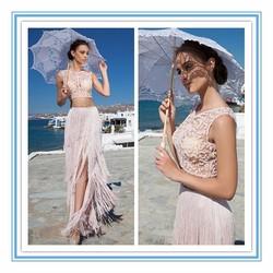 Stunning see through two piece evening dress gelinlik pink girls party dress (YASA-821)