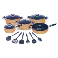 Zhejiang feihong E9seriers 15Pcs aluminum kitchen cookware sets includes soup pot sauce pan and wok pan with non-stick coating n