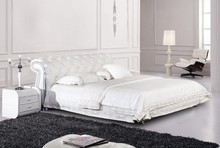 Modern French Style White Color King Size Bed Set Leather Bed