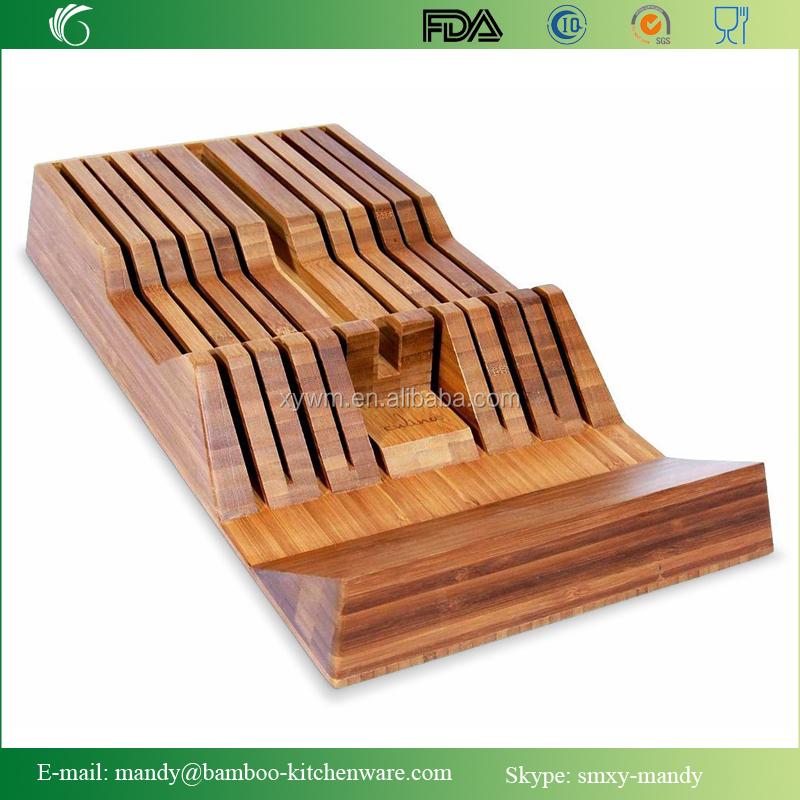 bambus messer schublade tablett mit griff rest keil 18. Black Bedroom Furniture Sets. Home Design Ideas