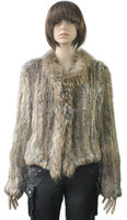 YR258 Real Women's Raccoon Dog and Rabbit Knitted Fur Garment