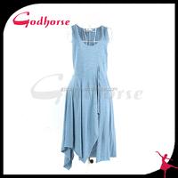 2015 Fashion Cutting Dress Design Blue Casual Dress