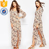 Glamorous tall floral print wrap front stretch shirred waist long sleeve women maxi dress