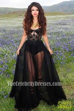 """Celebrity Inspired Selena Gomez Video Shoot for """"Come & Get It"""" Sexy Black See Through Prom Dress"""