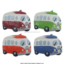 Polyresin Camper Van with Surfboard Magnet 4 Assorted