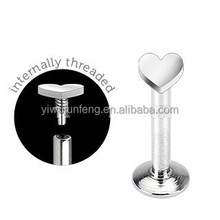 3mm Heart Top Internally Threaded Labret Stud Lip Piercing Jewelry