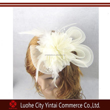 Gift lady wedding bridal fascinator flower feather hair clip accessory party