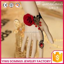 S-011 Stock Vintage tela / el cordón rojo flores pulsera anillo de traje de joyería nupcial venta al por mayor