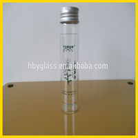 wholesale Borosilicate glass tube bottle with with aluminum lid /glass candy jar
