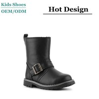 2014 new model guangzhou kids fashion shoes black leather boys toddler boots