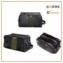 customized two zippers two color mens PU shaving kit bag