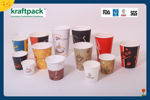 Custom Disposable Coffee Paper Cups and Plastic Lids