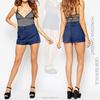 Hot Summer Women Denim Shorts In Mid Wash Blue With Belted High Waist Denim Shorts HSS7926