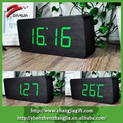 Hotel Desktop Decor Wooden Green Led Alarm Clock