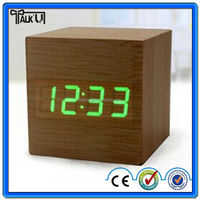 2015 Hot selling cube digital led wooden Desk clocks with alarm