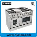 profissional hyxion 48 polegadas 6 queimador duplo forno de fogão a gás com grelha