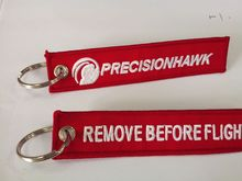 remove before flight custom embroidery or woven logo keychain