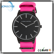 2015 Newest hot Custom black face and strap stainless watch with metal embossed logo