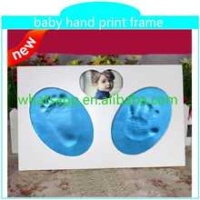 best selling handprint and footprint kit with frame flannel photo frame backboard