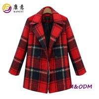 British Style Fashion lady green red plaid winter coat