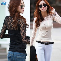 New Women Long Sleeve Sheer Lace Trim Sexy Slim Casual Bottoming T-Shirt Blouse Tops Shirt