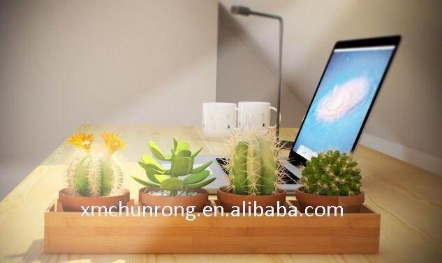 Rectangulaire en bambou en bois jardini re plateau pots - Bambous en jardiniere ...