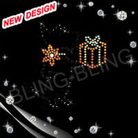 christmas design iron on rhinestone hot fix strass motif