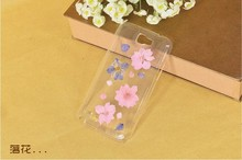 Dry pressed natural real flower cell phone accessory for note2 case glitter handmade gift transparant resin flower for sumsang