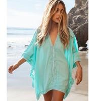 Women Fashion Summer Beach Dress Bikini Swimwear Cover Up Sarong Sexy Wrap Green Beach Tunic