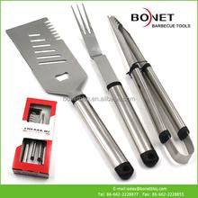 QPB0086 3Pcs Aluminum Handle BBQ Tool Set In Box