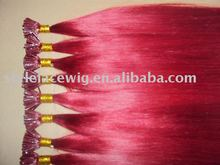 red color pre-bonded hair extension