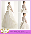 2014 newprecio elegante marfil balón vestido de cuello alto de superposición de encaje de manga larga vestido de novia con bowkn