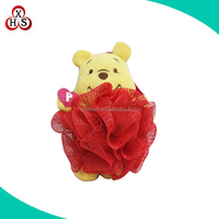 cute bear shaped soft baby bath sponge mesh plush toy