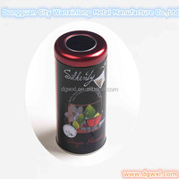 Round metal tea box with window