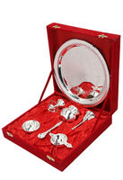 Diwali Special Gifts, Brass Silver Plated Traditional Indian Pooja Thali