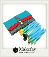 New arrival high quality private label 15pcs makeup brushes with leather bag