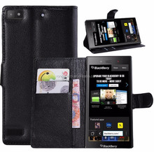 Business book style high quality flip stand leather case for blackberry Z3 wallet case