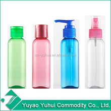 2015 Yuyao Yuhui best sell non spill wholesale cosmetic packaging 100ml PET bottle with spray pump